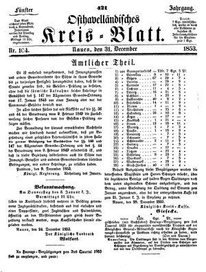 Osthavelländisches Kreisblatt vom 31.12.1853