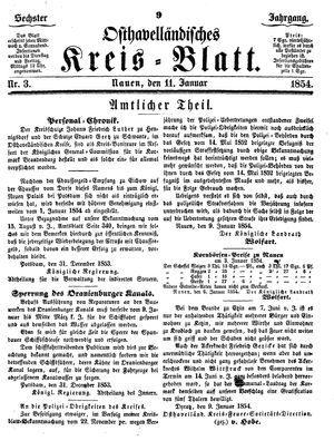 Osthavelländisches Kreisblatt on Jan 11, 1854