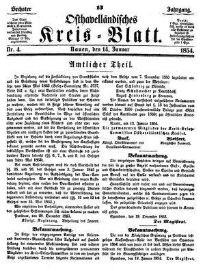 Osthavelländisches Kreisblatt vom 14.01.1854