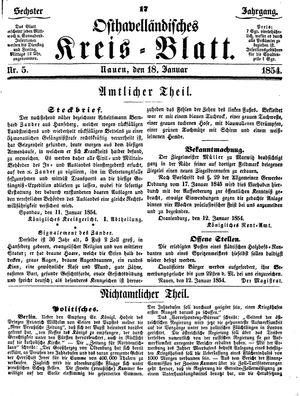 Osthavelländisches Kreisblatt on Jan 18, 1854