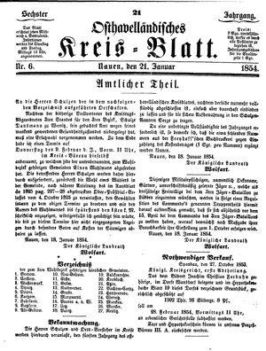 Osthavelländisches Kreisblatt vom 21.01.1854