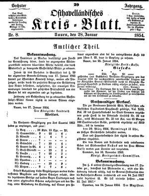 Osthavelländisches Kreisblatt vom 28.01.1854