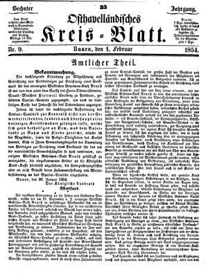 Osthavelländisches Kreisblatt vom 01.02.1854