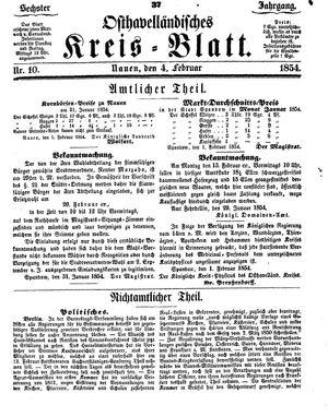 Osthavelländisches Kreisblatt vom 04.02.1854