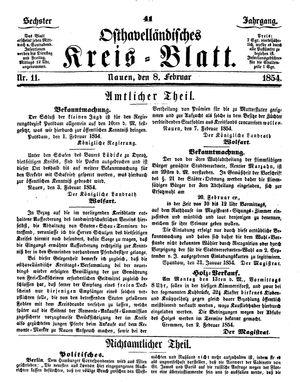 Osthavelländisches Kreisblatt vom 08.02.1854