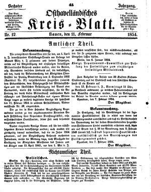 Osthavelländisches Kreisblatt vom 11.02.1854