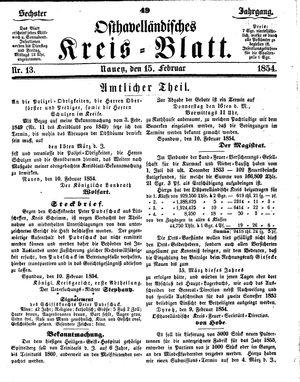 Osthavelländisches Kreisblatt vom 15.02.1854