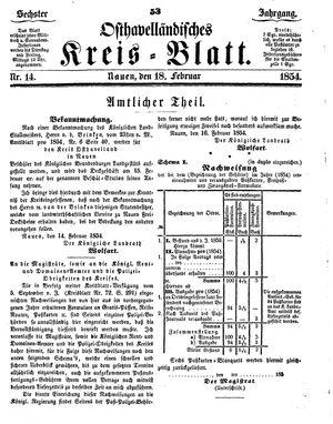 Osthavelländisches Kreisblatt vom 18.02.1854
