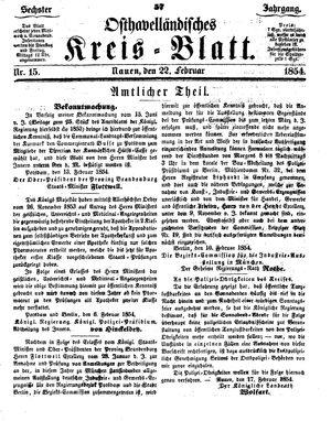 Osthavelländisches Kreisblatt vom 22.02.1854