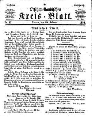 Osthavelländisches Kreisblatt on Feb 25, 1854