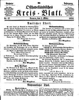 Osthavelländisches Kreisblatt vom 01.03.1854