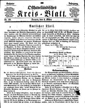 Osthavelländisches Kreisblatt vom 04.03.1854