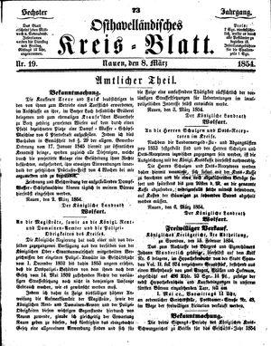 Osthavelländisches Kreisblatt vom 08.03.1854