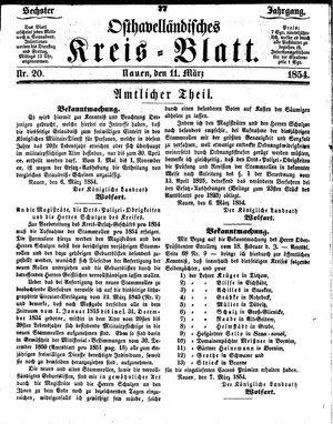 Osthavelländisches Kreisblatt vom 11.03.1854