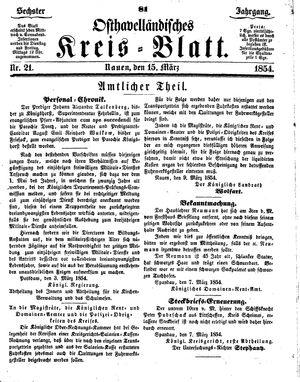 Osthavelländisches Kreisblatt vom 15.03.1854