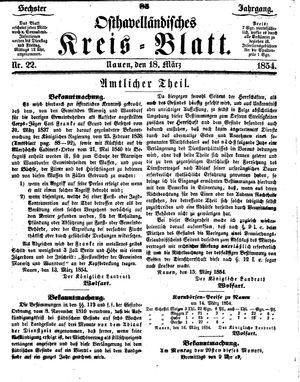 Osthavelländisches Kreisblatt vom 18.03.1854