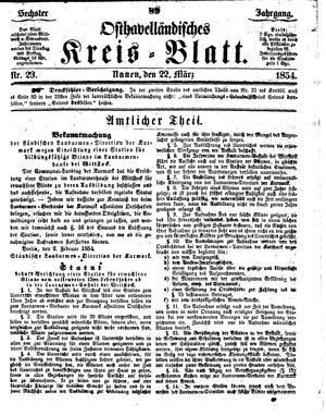 Osthavelländisches Kreisblatt on Mar 22, 1854