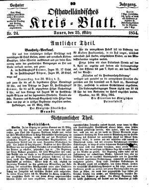 Osthavelländisches Kreisblatt vom 25.03.1854