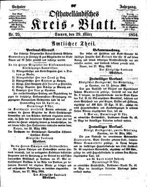Osthavelländisches Kreisblatt vom 29.03.1854