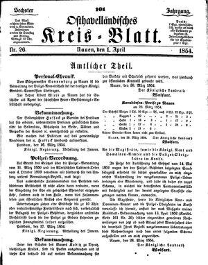 Osthavelländisches Kreisblatt on Apr 1, 1854
