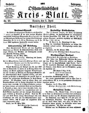 Osthavelländisches Kreisblatt vom 05.04.1854