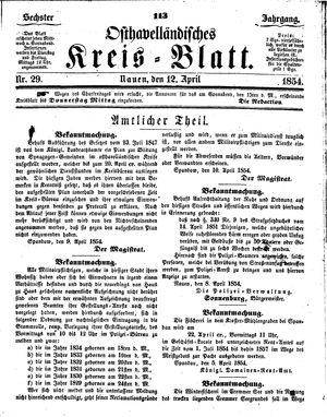 Osthavelländisches Kreisblatt vom 12.04.1854