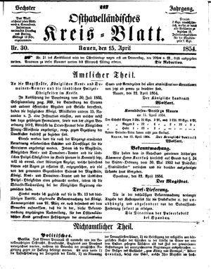 Osthavelländisches Kreisblatt vom 15.04.1854