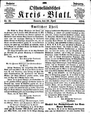 Osthavelländisches Kreisblatt vom 19.04.1854