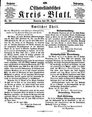 Osthavelländisches Kreisblatt vom 22.04.1854