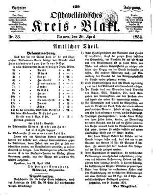Osthavelländisches Kreisblatt vom 26.04.1854