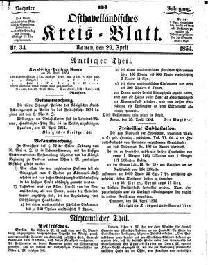 Osthavelländisches Kreisblatt vom 29.04.1854