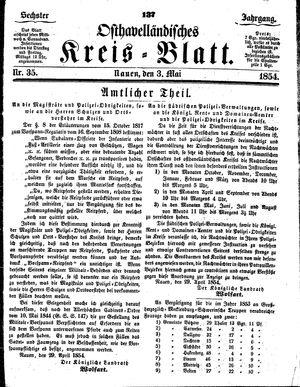 Osthavelländisches Kreisblatt vom 03.05.1854