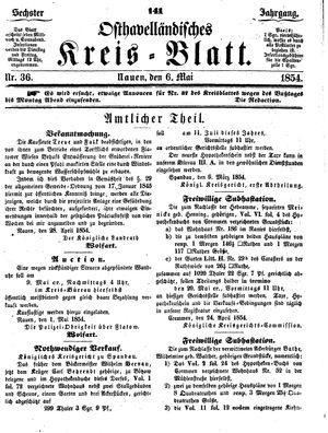 Osthavelländisches Kreisblatt vom 06.05.1854