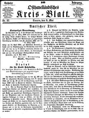 Osthavelländisches Kreisblatt vom 09.05.1854