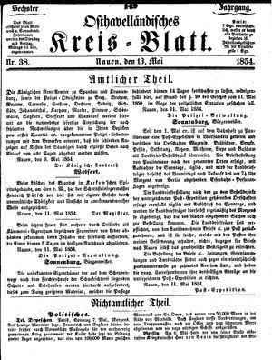 Osthavelländisches Kreisblatt vom 13.05.1854
