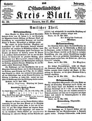 Osthavelländisches Kreisblatt vom 17.05.1854