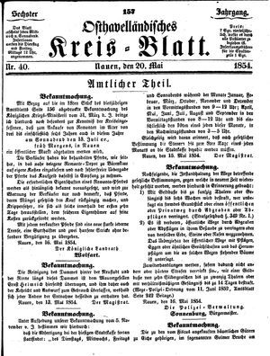 Osthavelländisches Kreisblatt on May 20, 1854