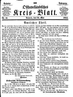 Osthavelländisches Kreisblatt vom 24.05.1854