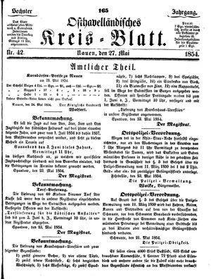 Osthavelländisches Kreisblatt on May 27, 1854
