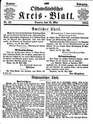 Osthavelländisches Kreisblatt vom 31.05.1854