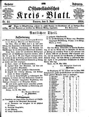 Osthavelländisches Kreisblatt vom 03.06.1854