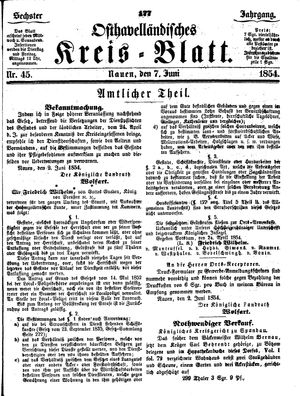 Osthavelländisches Kreisblatt vom 07.06.1854