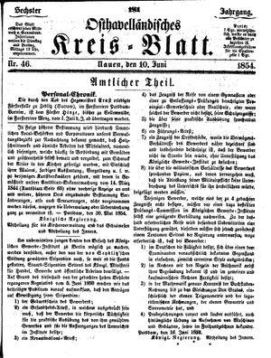 Osthavelländisches Kreisblatt vom 10.06.1854