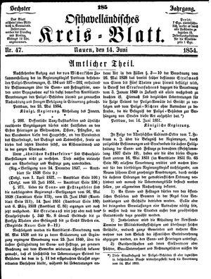 Osthavelländisches Kreisblatt vom 14.06.1854