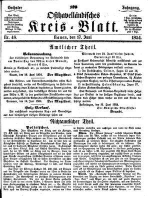 Osthavelländisches Kreisblatt vom 17.06.1854