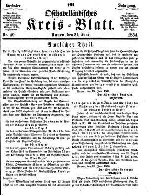 Osthavelländisches Kreisblatt vom 21.06.1854