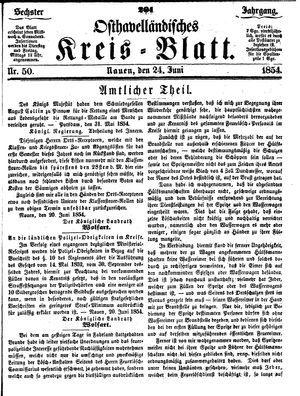 Osthavelländisches Kreisblatt on Jun 24, 1854