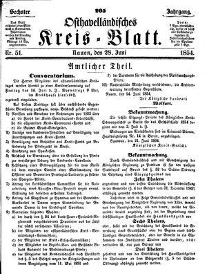 Osthavelländisches Kreisblatt vom 28.06.1854