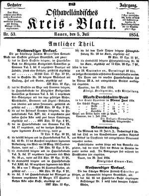 Osthavelländisches Kreisblatt vom 05.07.1854