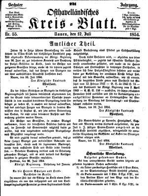 Osthavelländisches Kreisblatt vom 12.07.1854